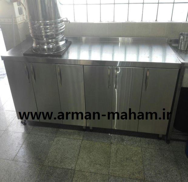کابینت زمینی استیل آشپزخانه صنعتی